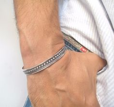 925 silver handmade cuff bangle solid men mans bracelet artisan sterling cuban #symbolina #Cuff