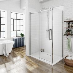 This Sliding Shower enclosure with its polished chrome frame and clear glass has minimal styling to keep a light and open feeling in your bathroom. Complete with its sleek chrome vertical bar handle this shower enclosure is very contemporary and on-trend.