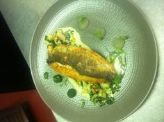 Bass with mussels, kale and lemon