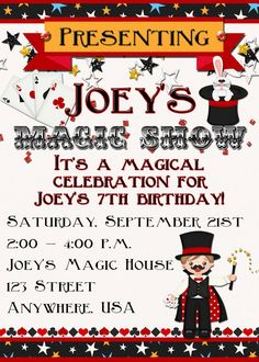 Magic Show Birthday Party Invitation by DecidedlyDigital on Etsy, $15.00
