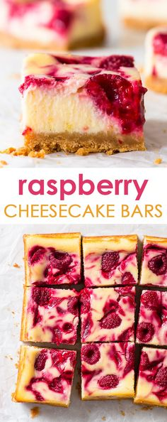 Small Batch Raspberry Cheesecake Bars - You will love these raspberry cheesecake bars, with their crumbly crust and the creamy, luscious filling. The lemon zest and abundance of raspberries give the b Dessert Sans Gluten, Gluten Free Desserts, Gluten Free Recipes Savoury, Gluten Free Bars, Raspberry Cheesecake Bars, Raspberry Dessert Recipes, Desserts With Raspberries, Cheesecake Desserts, Raspberry Recipes Gluten Free