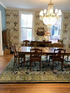 Historic Craftsman Dining Room in Historic Charleston. The Wykehamist rug in summer colors. All wool English Arts & Crafts carpet on cotton warp.