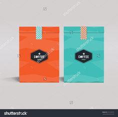 Two Color Package Design Mock Up Template.Cafe And Restaurant Packaging. 5 Pizza, Cafe Logo, Coffee Design, Package Design, 2 Colours, Blue Orange, Badge, Logo Design, Packaging
