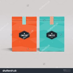 Two Color Package Design Mock Up Template.Cafe And Restaurant Packaging. Blue Orange.Coffee Badge Logo Stock Vector Illustration 375105373 : Shutterstock
