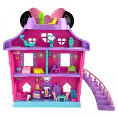 Minnie Magical Bow Sweet Home is a four-story dollhouse with 18 accessories for the included Minnie and Figaro figures.