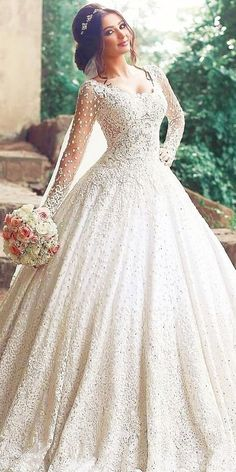 Beautiful Long Sleeve Lace Wedding Dress Ball Gown Floor Length wedding gowns with sleeves - Wedding Gown Long Gown For Wedding, Beautiful Wedding Gowns, Cheap Wedding Dress, Beautiful Dresses, Gown Wedding, Wedding Lace, Beautiful Bride, Lace Bride, Amazing Dresses