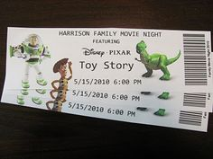 Family Movie Nights by Momma's Playground. This link is fantastic!! They have Disney movies with printable tickets, activities & food ideas. Toy Story, Cars, A Bugs Life, Lilo & Stitch.... great movies & fun for the family.