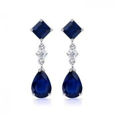 Pear and Squares shaped Sapphires with with diamonds set in white gold. from aboutsapphirejewelry.com