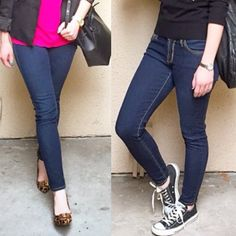 """James Jeans Twiggy Skinny Jeans ❗️Reduced from $40❗️Authentic James Jeans in """"Twiggy"""" cut. Dark denim """"China Doll"""" wash with contrast camel stitching. Stretchy, comfy and slimming fit. Good preloved condition with no stains or holes. I love these jeans so much I bought multiple pairs in this cut and wash! Downsizing my denim collection, more pairs will be listed soon. Size 26, true to size. Approx 14"""" across waist lying flat, 8"""" rise, 29.5"""" inseam. ❌No trades❌Price firm unless bundled. James…"""