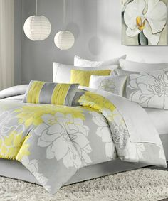 Take a look at this Yellow & Gray Elizabeth Duvet Set by JLA Home on #zulily today!