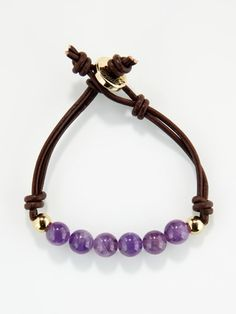 Ettika Jewelry - Amethyst Bead  Leather double strand bracelet