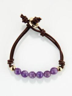 Ettika Jewelry - Amethyst Bead Leather double strand bracelet