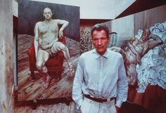Lucian Freud with two portraits of Leigh Bowery, 1990, taken by Bruce  Bernard