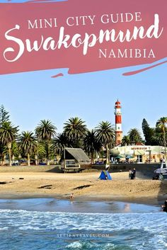A guide to visiting the beautiful German town of Swakopmund, Namibia. Known for its iconic lighthouse and position right between the ocean and endless miles of desert sand dunes, this post includes top restaurants and cafes (this city is full of cozy coffee shops!), best lodging, and adventure activities within the region. Namibia makes for the perfect add on to a South Africa trip! Travel in Africa. | Up and Away Travel Blog #Namibia