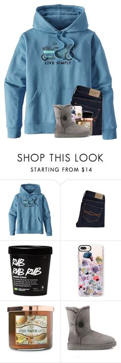 """""""gotta start an essay """" by madelinelurene ❤ liked on Polyvore featuring Patagonia, Abercrombie & Fitch, Casetify, Carolina Candle and UGG"""