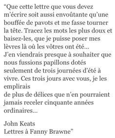 Lettre d'amour, John Keats