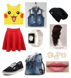 """Ash As A Girl (Pokemon Inspired)"" by delgadoelisa ❤ liked on Polyvore featuring Chicnova Fashion, WigYouUp, RWH by Rewash, Pilot and Vans"