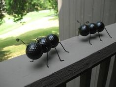 Painted golf balls with wire to create giant ants for the garden                                                                                                                                                                                 More