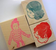 portrait hand carved rubber stamp by DearYouFromKozue on Etsy
