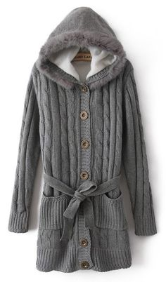 Grey Hooded Long Sleeve Drawstring Pockets Cardigan Sweater . . . i need this for work!!!1