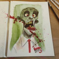 Brains!!! #2dbean #art #character #design #brettbean #sketch #drawing #fantasy #creature #monster #originalart #zombie #halloween