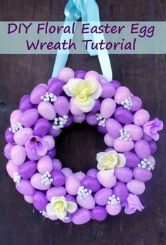 It is a gorgeous spring day here in the south. When the weather is pretty like this, I get inspired to make something for the house. This weekend, Caitlin and I made this gorgeous DIY Floral Easter Egg Wreath Tutorial #ad @orientaltrading