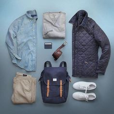 Blending blue notes and neutrals rarely a mistake. For all purveyors of good fashion following @stylishmanmag makes a fine choice as well @thepacman82 . . Shop @dadthreads Jacket: @barbour Chambray: @ralphlauren Sneakers: @apc_paris Bag: @sandqvistbags Sweatshirt: @denimandsupplyrl by dadthreads
