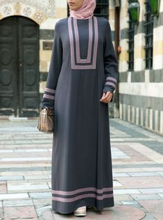 Long, luxurious and lavishing; the All Day Long Abaya is the piece you can count on for style a Abaya Fashion, Muslim Fashion, Modest Fashion, Fashion Dresses, Mode Abaya, Mode Hijab, Hijab Style Dress, Hijab Outfit, Abaya Designs