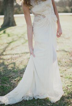 Wedding Gown by BHLDN -- See more here: http://www.StyleMePretty.com/2014/04/11/romantic-art-inspired-wedding-shoot/ #smp -- Photography: Sarah McKenzie Photography - www.sarahmckenziephoto.com