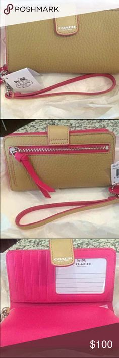 Coach Leather Camel/Pink Wallet 62273 Perfect Christmas gift:  Camel and hot pink Coach wallet, BRAND NEW never used tags with still on it! Item no. 62273. So cute in person, such a nice camel color that goes with any outfit. Very classy but also fun! Brother bought for me for Christmas, originally $160. Currently $158 on Amazon.  Will ship protected with its original Coach gift box.  Check out my other listings! Coach Bags Wallets
