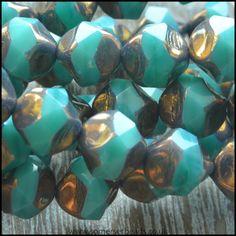 Czech Glass Faceted Picasso Central Cut Beads - Deep Aqua