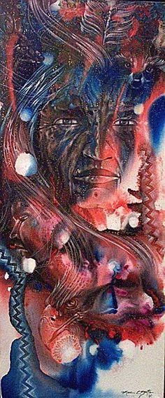 Sky Wind Acrylic on canvas x Mac Coyote, Mountain Ute/Navajo Native American Paintings, Native American Artists, Modern Indian Art, People Art, Native Art, Western Art, Native Americans, Navajo, Nativity