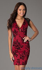 Buy Short Print Cap Sleeve Dress at SimplyDresses
