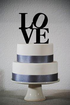 LOVE Wedding Cake Topper Philadelphia LOVE by ChicagoFactoryDesign