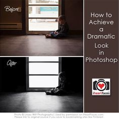 Learn how to achieve a dramatic look using Photoshop.  Photo editing tutorial via Linsey Wilt Photography for iHeartFaces.com