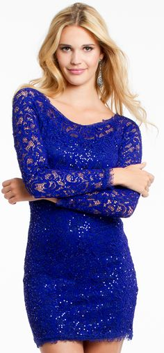 Long Sleeve Sequin Lace Homecoming Dress #camillelavie