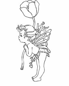 Fairy coloring page to print out and to color, picture a large flower Fairy Coloring Pages, Adult Coloring Pages, Coloring Books, Coloring Sheets, Fairy Drawings, Digital Stamps, Art Projects, Images, Sketches