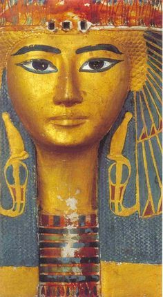 Fragment of outer coffin Maatkare Mutemhat, God's Wife of Amun, sister of Psusennes I, wearing a color-blocked beaded choker necklace above her Ousakh broad collar necklace.