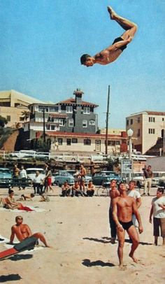 Muscle Beach seemed cooler back in the day, not sure how he got that high, not sure how he lands either.