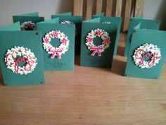 Christmas cards using stampin up wondrous wreath stamp and die.