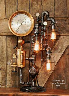 Steampunk Industrial, Rare Steam Gauge, Brass Oiler, #855
