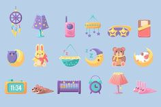 Baby Bedroom Objects Set by TopVectors on @creativemarket