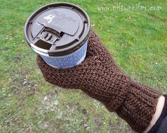 Free Crochet Pattern ~Beverage Mitt Mens and womens sizes http://www.niftynnifer.com/2014/12/free-crochet-pattern-beverage-cozy-mitt.html #BeerMitt #CoffeeCosy #CrochetPattern