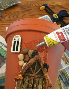 Here's how to make a sweetly whimsical DIY fairy house planter from a terra cotta pot & other inexpensive items. It's really easy, so why not give it a try? # Gardening in pots Whimsical DIY Fairy House Planter - LIFE, CREATIVELY ORGANIZED Fairy Crafts, Garden Crafts, Garden Art, Garden Planters, Garden Ideas, Garden Design, Yard Art Crafts, Succulents Garden, Decor Crafts