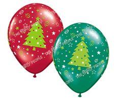 "Balloon - Latex, Print 11"" Christmas Trees 50 pk"