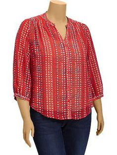 Women's Plus 3/4-Sleeve Blouses | Old Navy