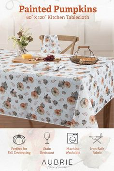 Dress your table for autumn with the Painted Pumpkins tablecloth from Aubrie Home Accents. This decorative seasonal tablecloth features an eye-catching design of pumpkins and falling leaves in orange and grey hues. Its print is ideal for special occasions, holiday decorating or everyday use in the fall. It measures 60-in. by 120-in. to fit rectangular tables that seat 10 to 12 people. This tablecloth is made from easy care polyester that's machine washable and iron-safe to make cleanup a breeze. Fall Home Decor, Autumn Home, Farmhouse Kitchen Inspiration, Kitchen Tablecloths, Painted Pumpkins, Fall Pumpkins, House Painting, Home Accents, Autumn Leaves
