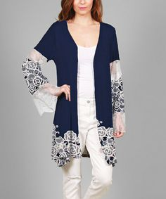 Look what I found on #zulily! Navy & White Floral Color Block Duster #zulilyfinds