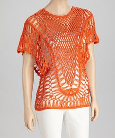 Take a look at this Orange Crocheted Short-Sleeve Top by SR Fashions on #zulily today!