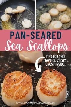 Beautiful pan-seared sea scallops! The savory crust from the cast iron gives the scallops a crispy texture on the outside while smooth and soft on the inside. This simple recipe is no fuss and a delicious accompaniment to a salad, pasta, risotto, or as an appetizer. Frozen Scallops, Sea Scallops, Quick Recipes, Quick Easy Meals, What Is Scallops, Roasted Vegetables, Veggies, Easy Dinner Party Recipes, Pan Seared Scallops